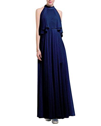 Femme Sans Manches Décolleté Robe de Bohême Dos Nu Casual Pour Femme Longue Maxi Robe Bleu Marine