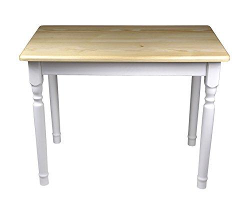 Esstisch Küchentisch Tisch Kiefer massiv Restaurant Honig/weiß 80 x 60 cm (80x60, Lackiert Kiefer)