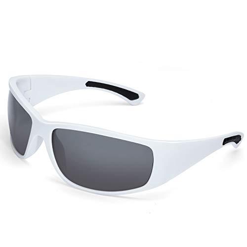 LAMEDA Sonnenbrille Herren Polarisierte Fahrradbrille Damen Motorradbrille Sportbrille mit UV400 Schutz für Radfahren Motorrad Autofahren Fischen Golf Laufen Wandern (Rahmen: Weiß, Linse: Grau)