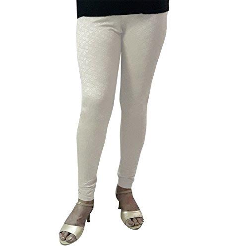 Women's Self Design Churidar Legging,White,XXL