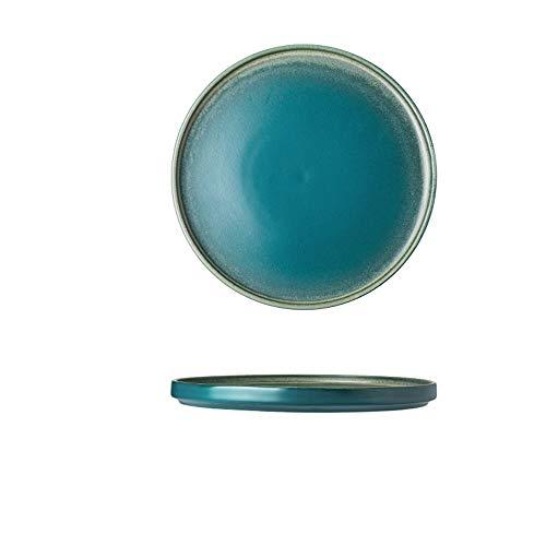 Kreative Nordic Retro Plattentyp Haushaltsofen Glasierte Keramik Geschirr Steak Platte Flache Hellgrün 20,7X1,9 Cm