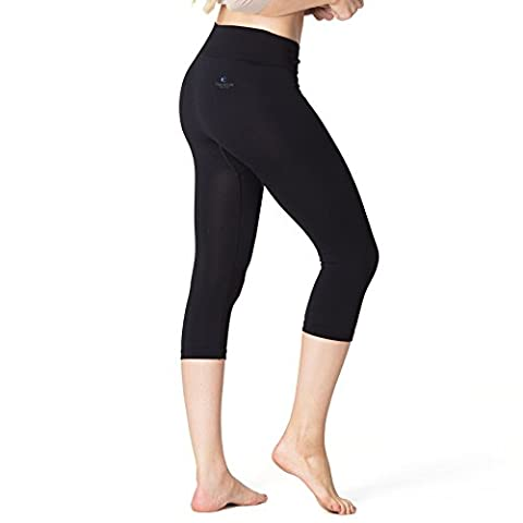 Beauty SleepLeggings ALHENA - Anti-Cellulite Sleep-Shorts (3/4 Capri Leggings) – Functional Skincare Nightwear Bottoms (Black,