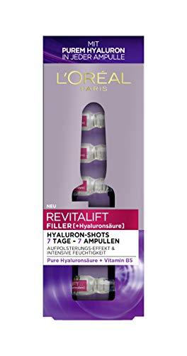 L'Oréal Paris Hyaluronsäure Serum hochdosiert, 7 Ampullen mit purem Hyaluron, Anti-Aging Kur für intensive Feuchtigkeit und eine prallere...