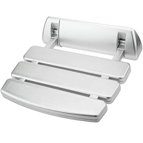 PrimeMatik - Sedile per Doccia Pieghevole. Sgabello per Anziani in plastica e Alluminio Argento 350x348mm