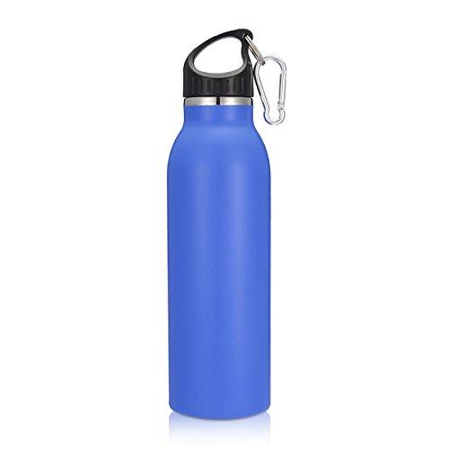 KING DO WAY 20oz/600ML 8 Farbe Edelstahlflasche mit Karabiner und Sport Cap Classic | Trinkflasche Thermosflasche Wasserflasche aus 18/403 Edelstahl | Auslaufsichere Vakuum-isolierte Sportflasche BPA Frei | Dunkelblau - 2