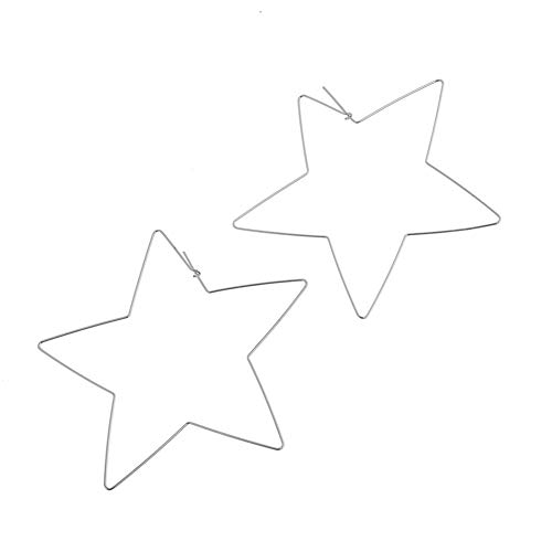 Pendientes de aro, diseño de estrella con forma de corazón, para mujer, 1 par Tamaño libre #1