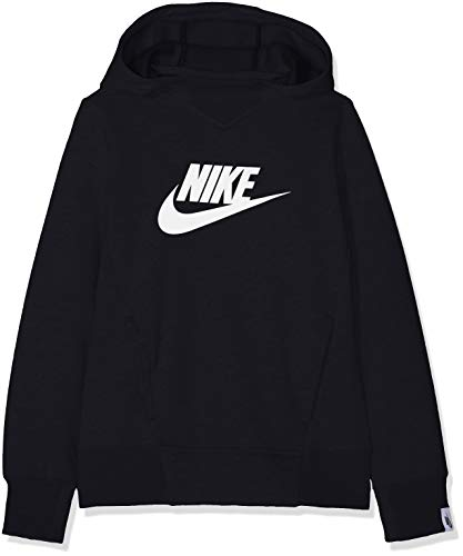 Nike Mädchen G NSW HOODIE PO PE GX Sweatshirt, Black/White, M