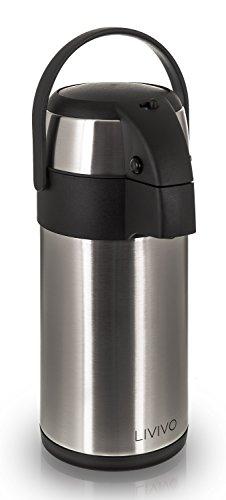 Edelstahl-Getränkespender/Pumpkanne,ideal für heiße und kalte Getränke wie Tee, Kaffee und...