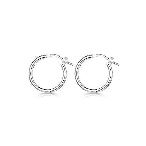 Amberta® 925 Sterling Silber Edle Ringe mit Scharnierbügel – Kleine runde Creolen Ohrringe - Durchmesse: 7 10 15 20 25 35 45 55 mm (15mm)