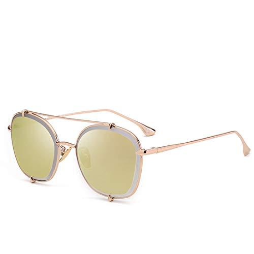 Polarisierte Sonnenbrille mit UV-Schutz Exquisite runde Form Metallrahmen Sonnenbrillen für Frauen Männer UV-Schutz für den Außenbereich. Superleichtes Rahmen-Fischen, das Golf fährt ( Farbe : Gold )