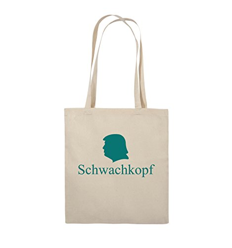 Comedy Bags - Schwachkopf - TRUMP - Jutebeutel - lange Henkel - 38x42cm - Farbe: Schwarz / Weiss Natural / Türkis