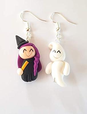 boucles d'oreille sorcière halloween et son fantôme,thème halloween,boucles femmes et enfants