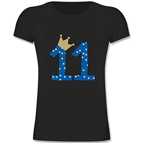 Geburtstag Kind - 11. Geburtstag Krone Junge Elfter - 164 (14-15 Jahre) - Schwarz - F131K - Mädchen Kinder T-Shirt -