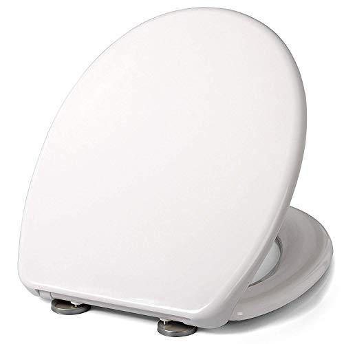 WOLTU WS2596-A WC Sitz Toilttensitz mit Absenkautomatik, Duroplast, Fast Fix per einem Knopfdruck, Antibakteriell, Neu&Ovp, Cremeweiß
