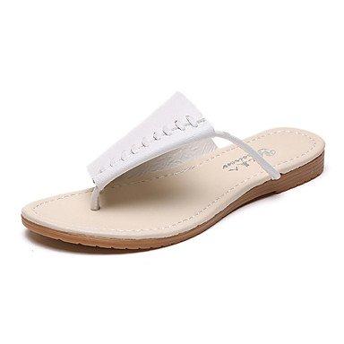 Zhenfu Femmes Printemps Été Sandales Confort Pu Sportswear Talon Plat Blanc