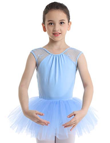 Kostüm Ballerina Blaue - YiZYiF Kinder Ballettkleid Ballerinas Tanz Kostüm Ballett Trikot Kleidung Kinder Ballettanzug Rückenfrei aus Spitze und Tüll Röckchen Gr. 104-164 Himmelblau 110-116