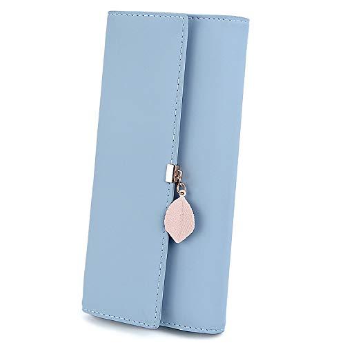 UTO Portafoglio'Foglie d'autunno' di Pelle sintetica per donna portafoglio lungo con foglia pendente e portamonete con cerniera Blu chiaro