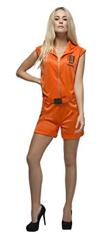 Gefangener Orange Kostüm Womens - Smiffys 24634S - Fever Damen Sträfling-Königin Kostüm, Größe: 36-38, orange