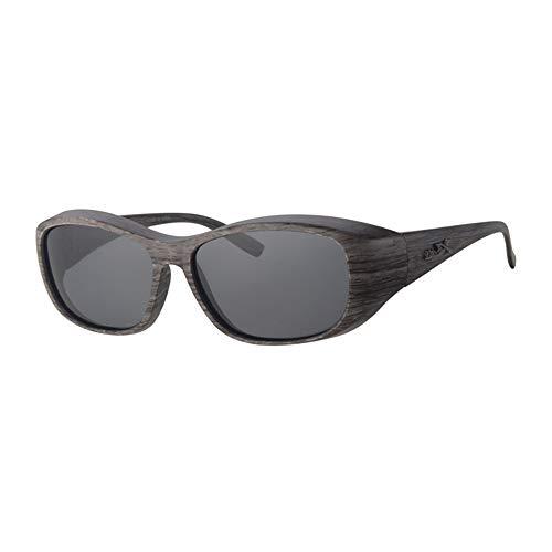 Revex Sonnenbrille POL8008 mit Graue Woodlook Holz Frame und Dunkle Gläser