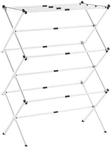 mDesign sèche-Linge Extensible - séchoir à Linge Peu encombrant en métal et Plastique - à 3 étages - étendoir à Linge intérieur pour Salle de Bain ou buanderie - Blanc/Gris