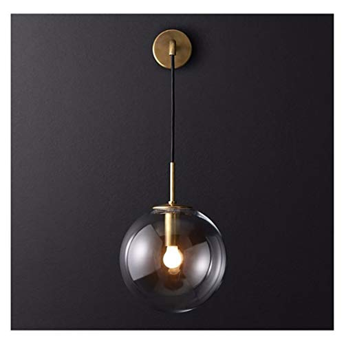 QTDH Vintage Style Wandleuchten, Nordic Ball Glas Wandleuchte, Kreative LED Wandleuchte Industrie Glas Lampenschirm Wandleuchte (Farbe : Gold Amber Shade, größe : 25cm)