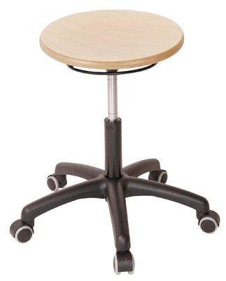 MeyChairSystems Arbeitshocker mit Gasfederhöhenverstellung, mit Rollen, Sitzfläche aus Bucheschichtholz, Sitzhöhe: 420-550 mm