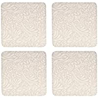 Denby 10.5 x 10.5 cm Cork Backed Monsoon Lucille Coaster Set, Set of 4, Gold/ Cream