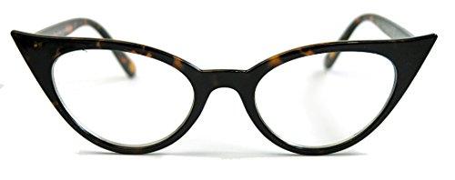 50er Jahre Damen Brille Cat Eye Nerdbrille Klarglas Hornbrille braun