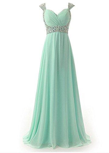 Tiffany Ballkleid (Edaier Damen Straps Perlen Lange Abendkleider Ballkleid Größe 60 Mintgrün)