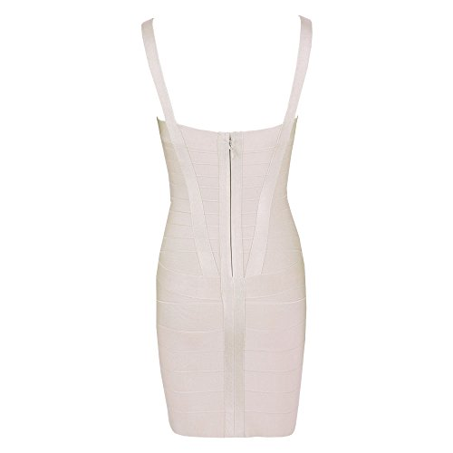 HLBandage Women's Spaghetti Strap Rayon Mini Bodycon Bandage Dress Beige