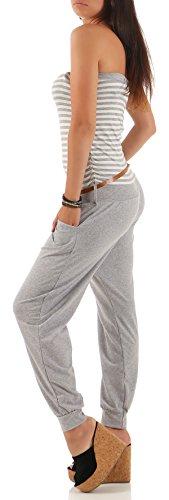 malito Damen Einteiler gestreift | Overall mit Gürtel | Jumpsuit im Marine Look