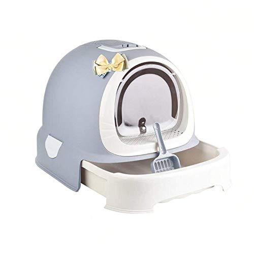 *GRT Geschlossene Deodorant-Selbstreinigende Kunststoff-Haustier-Toilette, Katzen-Toiletten-Kasten/Katzentoilette, Katzenklo,Gray*