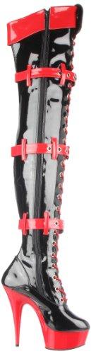 Funtasma MEDIC-3028 Damen Plateau Overknee Stiefel Blk-Red Pat/Red