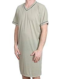 02f7a72f1e Hombre CAMISÓN Corto Liso Pijama Vestido Dormir Ropa DE Dormir ALGODÓN  Talla  L XL XXL