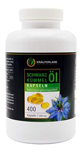 Kräuterland Schwarzkümmelöl Kapseln, 400 Stück à 500mg, Ägyptisch, Kaltgepresst, 100{4171fe0cda0edd9ab2618ddc6c43acea49424157b43f14cb3551e150fcf80642} rein, Mühlenfrisch direkt vom Hersteller Kräuterland, Made in Germany, Premium Qualität