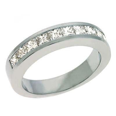 14ct White Gold Princess Cut 1.1 Ct Diamond Band Ring