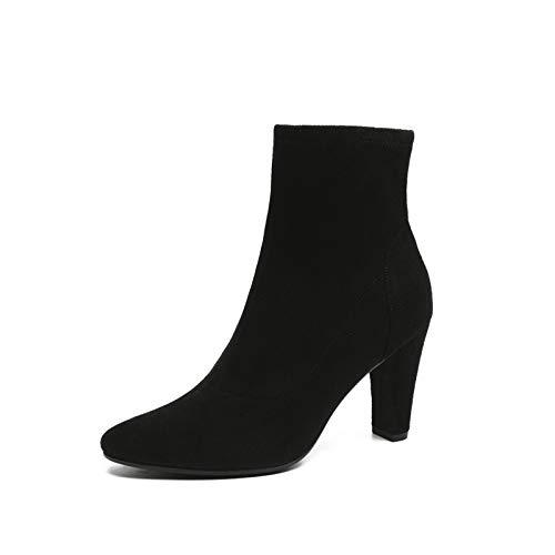 Top Shishang Herbst Winter Frauen Vintage Scrub spitzte Dicke Stiefel Martin Stiefel Chelsea Stiefel und Stiefeletten Western Ankle Boots,schwarz,36 Western Wellington Boot