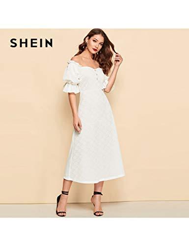 NSLLQ Weiße Taste Vorne Rüschen Puffärmel Jacquard Bardot Plain Langes KleidFrühling Eine Linie Von Der Schulter Kleider,White (Jacquard-taste)