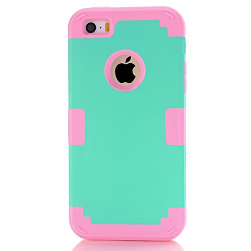 Apple iPhone 5 5s Coque, Moonmini® Ultra mince protection antichoc Combo Goutte protection Case Coque Housse Etui pour Apple iPhone 5 5s, Rose Gold + blanc Rose + Vert