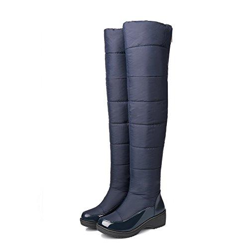 VogueZone009 Damen Rein Blend-Materialien Mittler Absatz Reißverschluss Rund Zehe Stiefel, Schwarz, 42