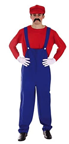 Adult Men's Funny, Super Plumber Bros, Mario Style Fancy Dress Costume. Includes both Red AND Green Brothers. One Size Costume But Usually Fits Mens Small, Medium And Large. Perfect For A Stag Do. by