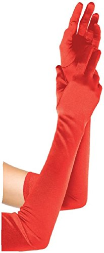 Leg Avenue plus size Damen Satin Handschuhe rot one size extra lang