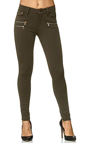 Elara Damen Stretch Hose Skinny Fit Jegging Chunkyrayan H86-22 Dk.Green 38 (M)