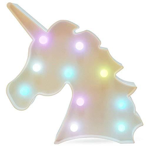QIANGUANG LED Noche Lámpara Marquesina Interior 3D Mesa Ligero Lámpara de pared para casa Cumpleaños Fiesta Decoración Fiesta Regalo Niños La batería no incluye (Cabeza de unicornio color)