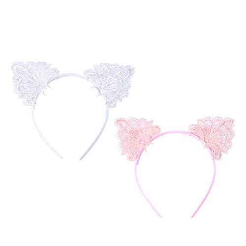 Lurrose 2pcs Cat Ear Stirnband Spitze Hairband Haarschmuck für Frauen (White + Pink)