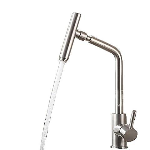 Warmes und kaltes Wasser-Hahn-Küche Gemüse Becken Edelstahl-Spüle Wasserhahn gedreht werden kann, , single faucet does not fit into the water pipe