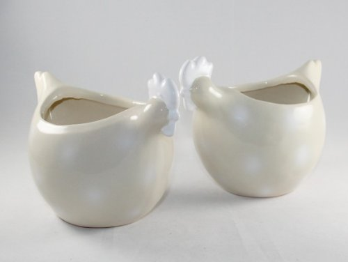 AS4HOME Übertopf aus Keramik 'Huhn' - 2 Stück Kräutertopf Blumenübertopf - Blumentopf (Blumentopf Huhn)