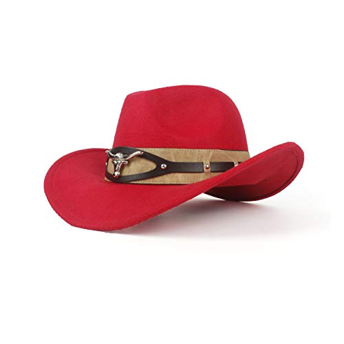MISSMARCH Hipste Fashion Cowboyhut Damen Herren Western Cowboyhut Vater Herr Damen Leder Sombrero (Farbe : Rot, Größe : 56-59cm)