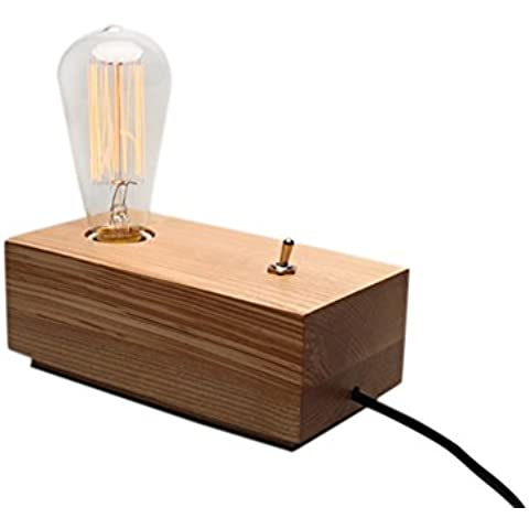 Cdet Lampade da Tavolo Vintage Lampada Edison Portalampada E27 Base Legno Retrostyle (Lampade Inoltre Legno Lampada Da Tavolo)
