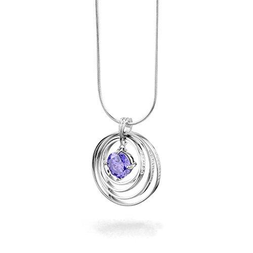 925 Sterling Silber Halskette mit Chakra violett CZ Synergy Love Stone –  Violett Zirkonia Chakra Stein mit Beautiful Words In Love, Glaube, Mut,